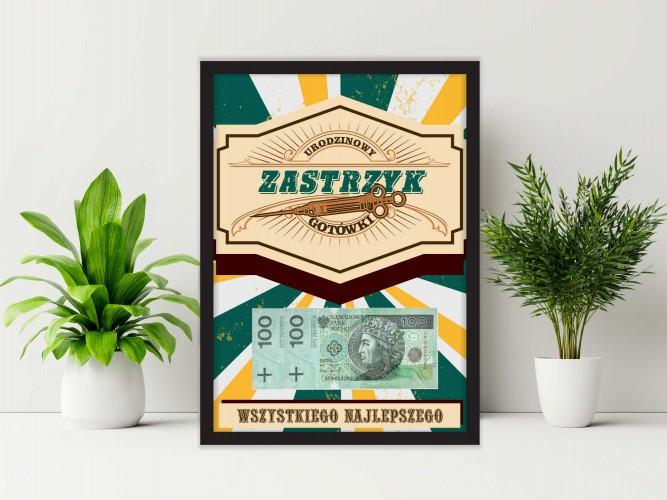 Plakat w ramie na pieniądze, retro PP010 - 1