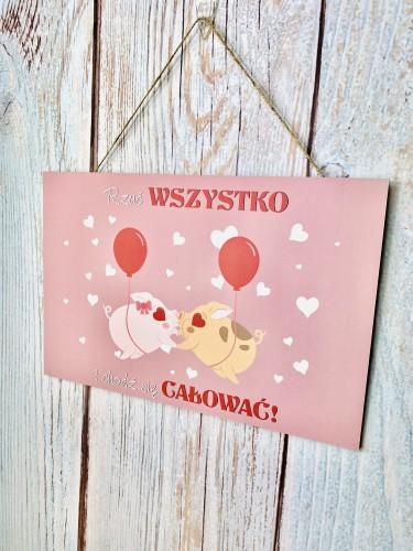 Tabliczka drewniana tabliczka z sentencją ozdobna prezent na Walentynki 60048 - 1