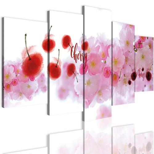 Obrazy 5 częściowe-  Kwiaty wiśni 12321 - 1