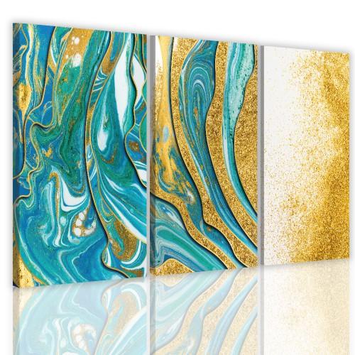 Tryptyki do salonu sypialni 41127 obrazy na  ścianę  złota abstrakcja - 1