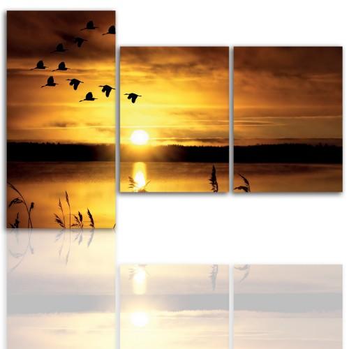 Tryptyk do salonu - Pejzaż, zachód, jezioro 12125 - 1