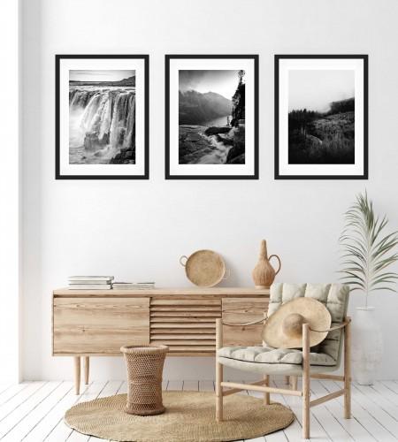 Zestaw trzech plakatów plakaty na ścianę w ramie czarno-białe boho KP142 - 1
