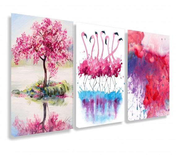 Obraz na ścianę do salonu sypialni flamingi akwarela róż 20111 - 1