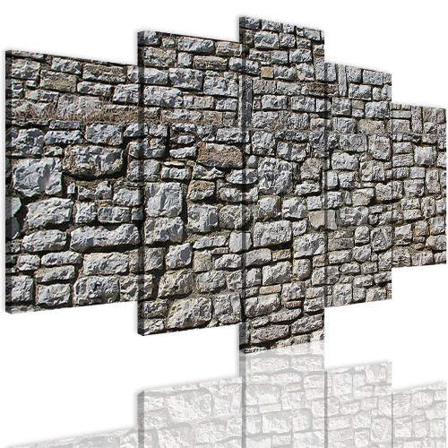 Obrazy 5 częściowe-  Kamienie, cegła, ściana 12291 - 1
