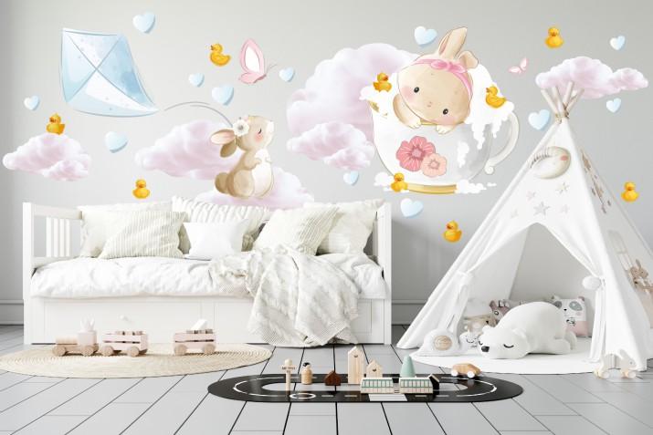 Naklejki do pokoju dziecka na ścianę 41445 chmury - 1