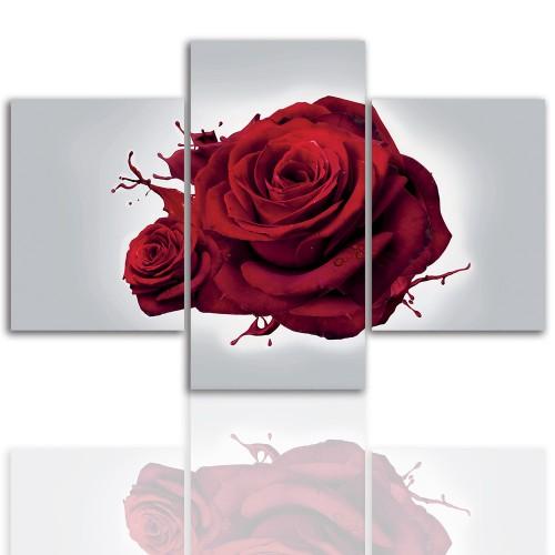 Tryptyk do salonu - Kwiaty, róże, pąk 12064 - 1