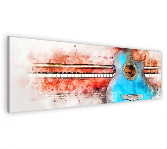 Obraz na ścianę do sypialni salonu akwarela, gitara, muzyka 20126 - 1