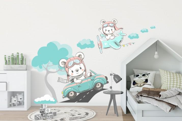 Naklejki dla dzieci - bajka, droga samochód, samolot chmurki 9820 - 1