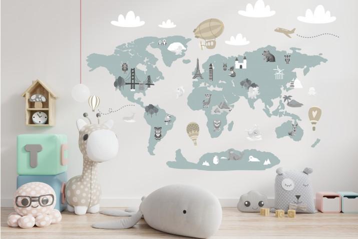 Naklejka ścienna - mapa świata balony 41379 - 1