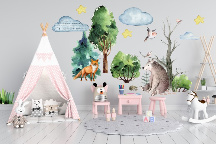 Naklejki dla dzieci dziecka na ścianę zwierzęta leśne 41470 - 1