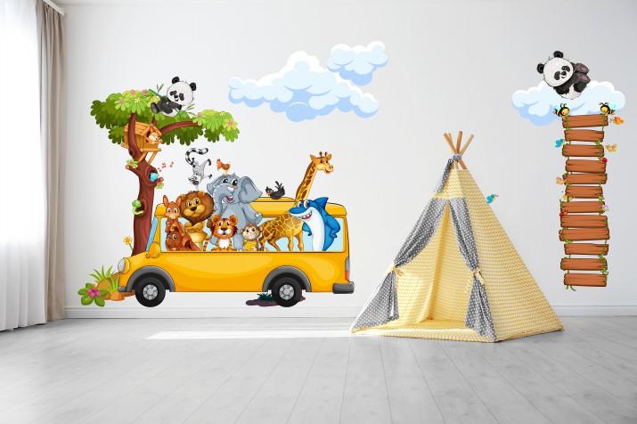 Naklejki na ścianę dla dzieci  41054 zwierzęta safari wesoły autobus - 1