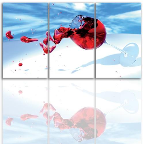 Tryptyk do salonu -  Obraz, kieliszek, wino 12220 - 1