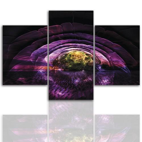 Tryptyk do salonu - Pejzaż, purpurowa wyspa 12235 - 1