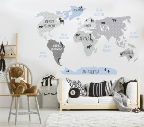 Naklejka ścienna - mapa świata pastelowa, mapa 29 - 1