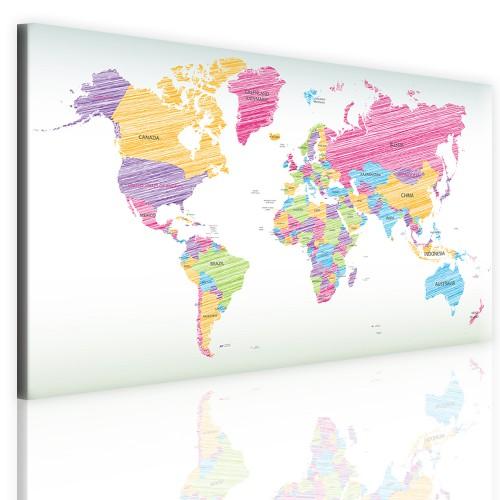 Obrazy na tablicy korkowej z mapą świata 41101 - 1
