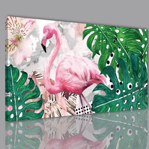 Obraz na ramie płótno canvas- Liście monstera monster kwiaty flamingi 10420 - 1
