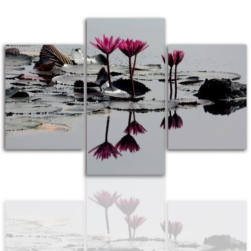Tryptyk do salonu - Kwiaty, lotos, lilia 12042 - 1