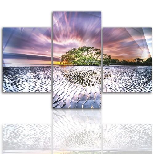 Tryptyk do salonu - Pejzaż, kolorowa plaża 12234 - 1