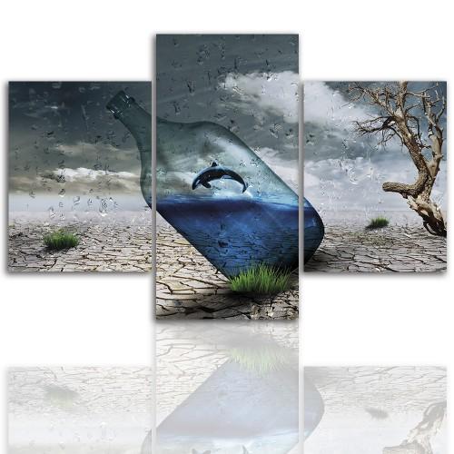 Tryptyk do salonu - Obraz, pustynia, abstrakcja 12249 - 1