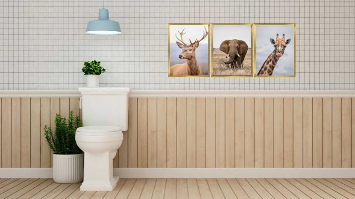 Zestaw plakatów trzy plakaty na ścianę w ramie do łazienki AG017 - 1