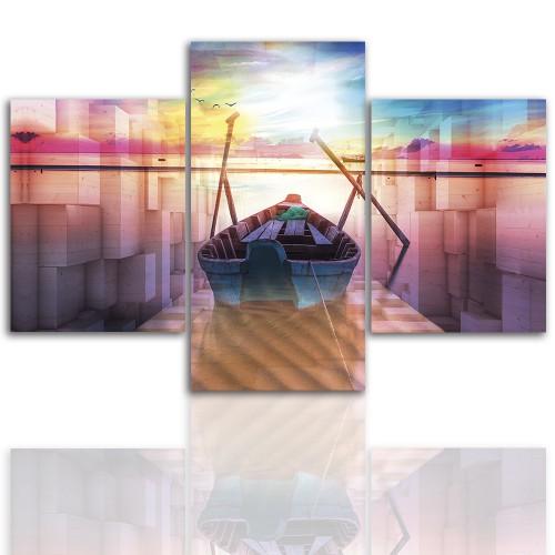 Tryptyk do salonu - Pejzaż, łódź, morze 12240 - 1