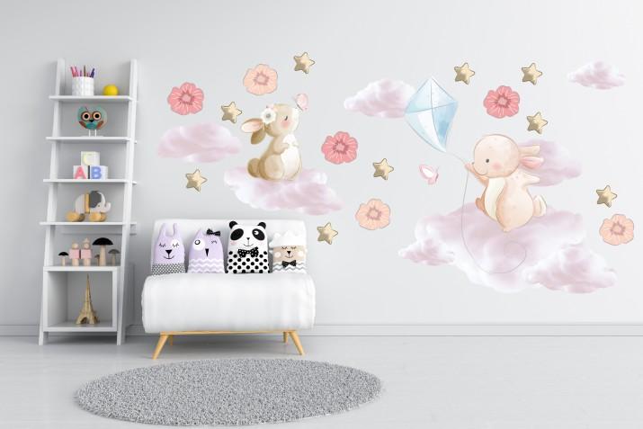 Naklejki dla dzieci na ścianę 41444 balony chmurki - 1