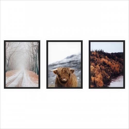 Komplet plakatów trzy plakaty na ścianę w ramie zimowy pejzaż KP116 - 1