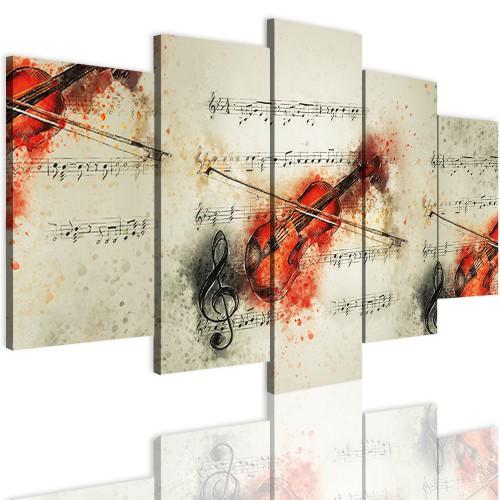 Obrazy 5 częściowe- Skrzypce, muzyka 12368 - 1