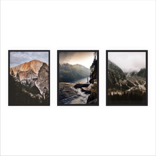 Komplet trzech plakatów w ramie góry natura KP084 - 1