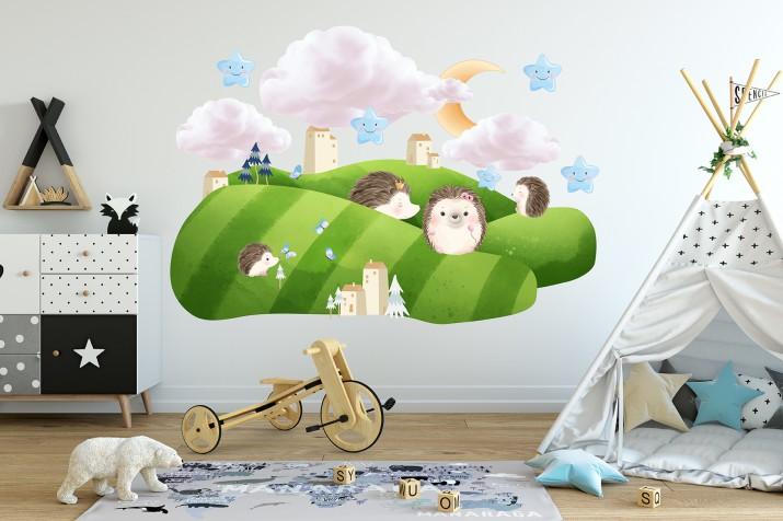Naklejki dla dzieci na ścianę 41417 zielona dolina - 1