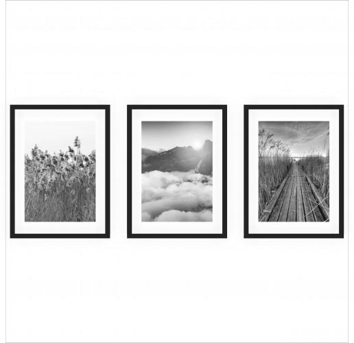 Zestaw trzech plakatów plakaty na ścianę w ramie czarno-białe boho KP150 - 1