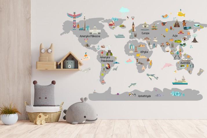 Naklejka ścienna - mapa świata szara budynki 41372 - 1