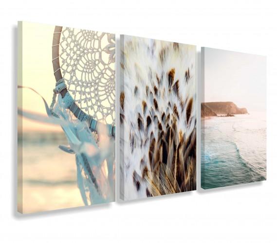 Obrazy na ścianę do salonu sypialni boho, łapacz snów, ocean, pióra 20154 - 1