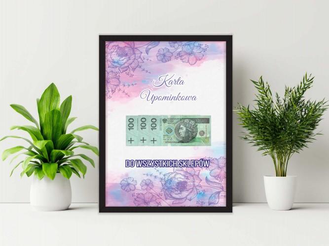 Plakat w ramie na pieniądze  kwiaty PP001 - 1