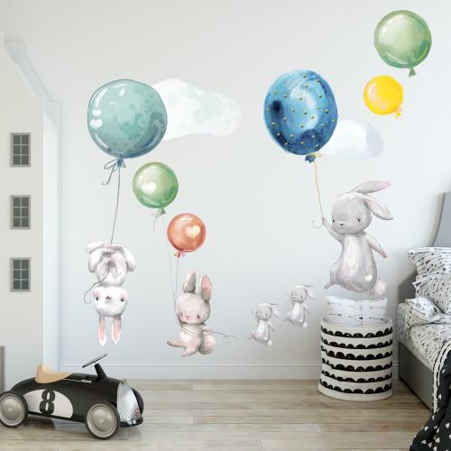 Naklejka ścienna dla dzieci - balony, chmurki 9748 - 1