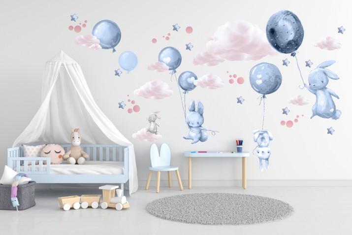 Naklejki dla dzieci na ścianę 41441 balony chmurki - 1