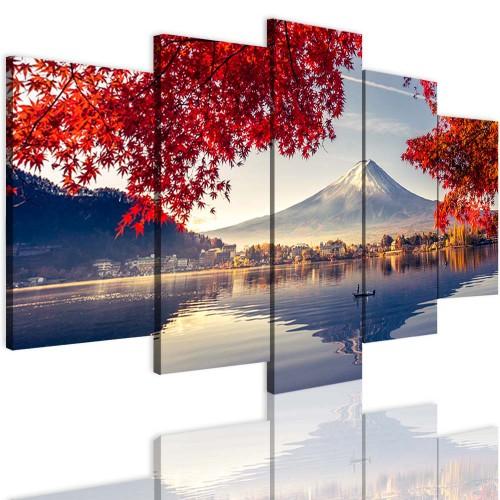 Obrazy 5 częściowe 15111 Góry jezioro liście - 1