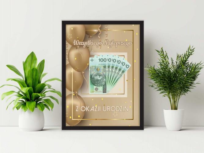 Plakat w ramie na pieniądze gold  PP008 - 1