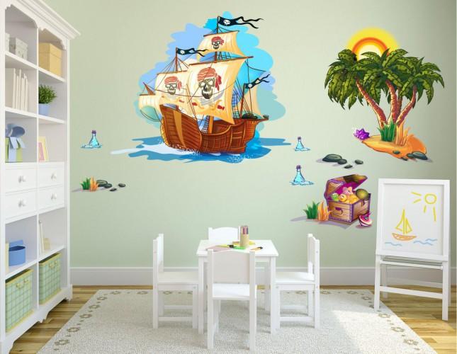 Naklejka ścienna dla dzieci -  wyspa, statek zestaw 17 - 1