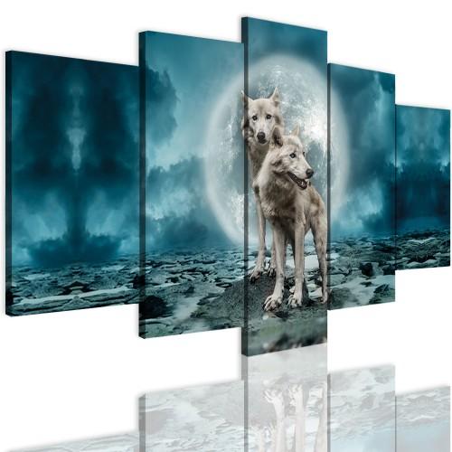Obrazy 5 częściowe- Wilk, pełnia, nowoczesny 12357 - 1