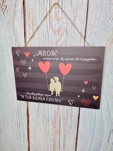 Tabliczka drewniana tabliczka z sentencją ozdobna prezent na Walentynki 60046 - 1