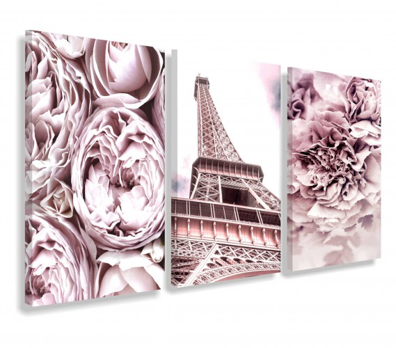 Obrazy na ścianę do salonu sypialni pastele, Paryż w różach 20155 - 1