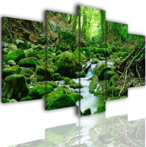 Obrazy 5 częściowe- Las, strumień, wodospad 515 - 1
