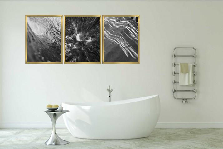Zestaw plakatów trzy plakaty na ścianę w ramie do łazienki AG007 - 1